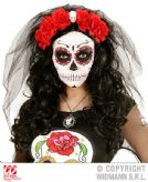 6 Roses Headband With Skull & Veil Head Boppers Hawaiian Fancy Dress